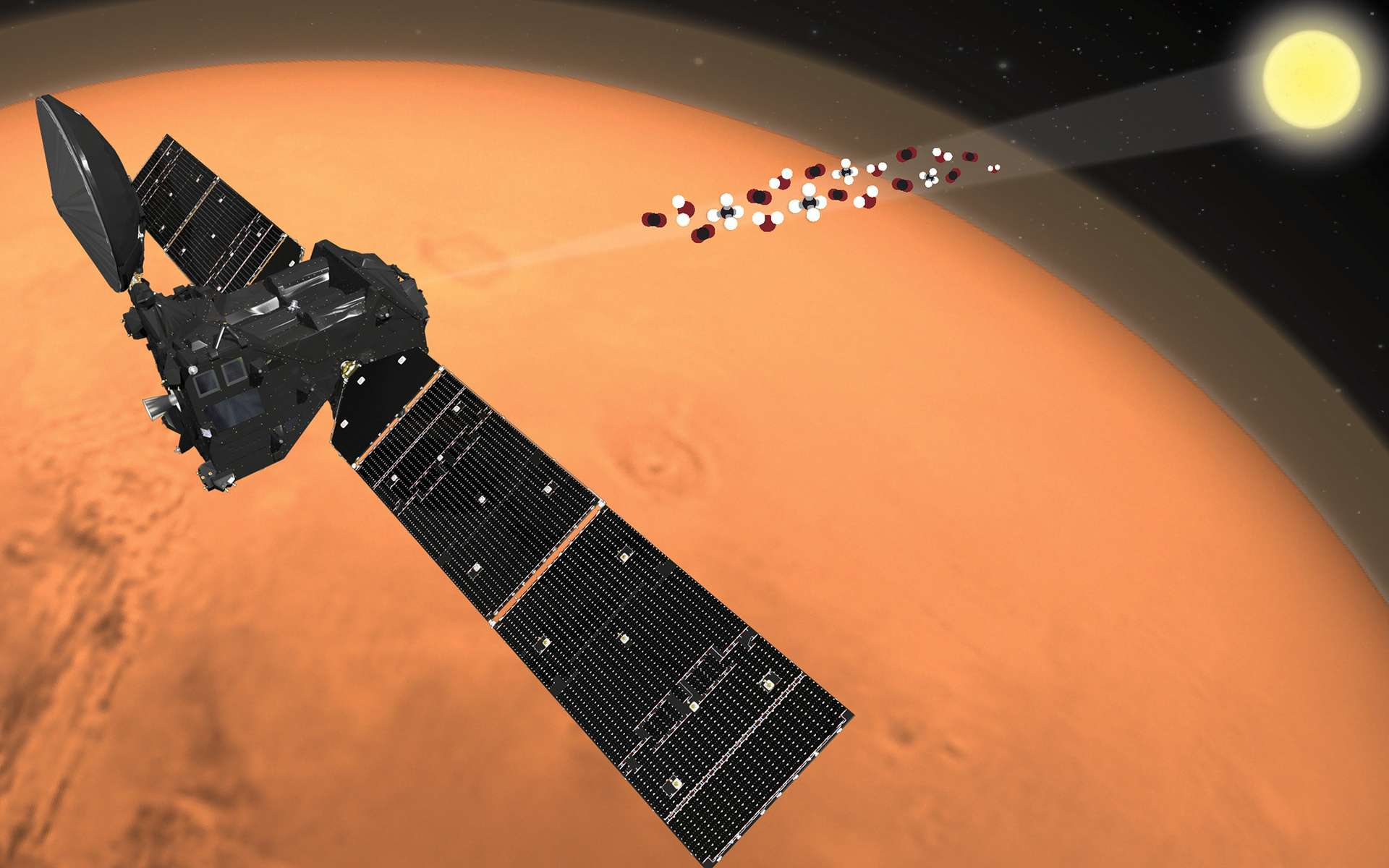 Vue d'artiste de la sonde européenne Trace Gas Orbiter, qui est arrivée en 2016 autour de la Planète rouge. © ESA