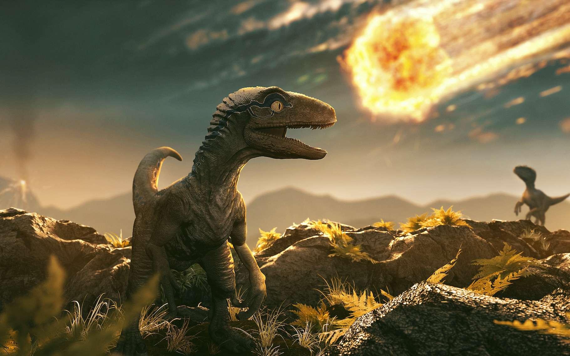 Illustration du cataclysme qui a provoqué l'extinction des dinosaures il y a 66 millions d'années. © lassedesign, Adobe Stock