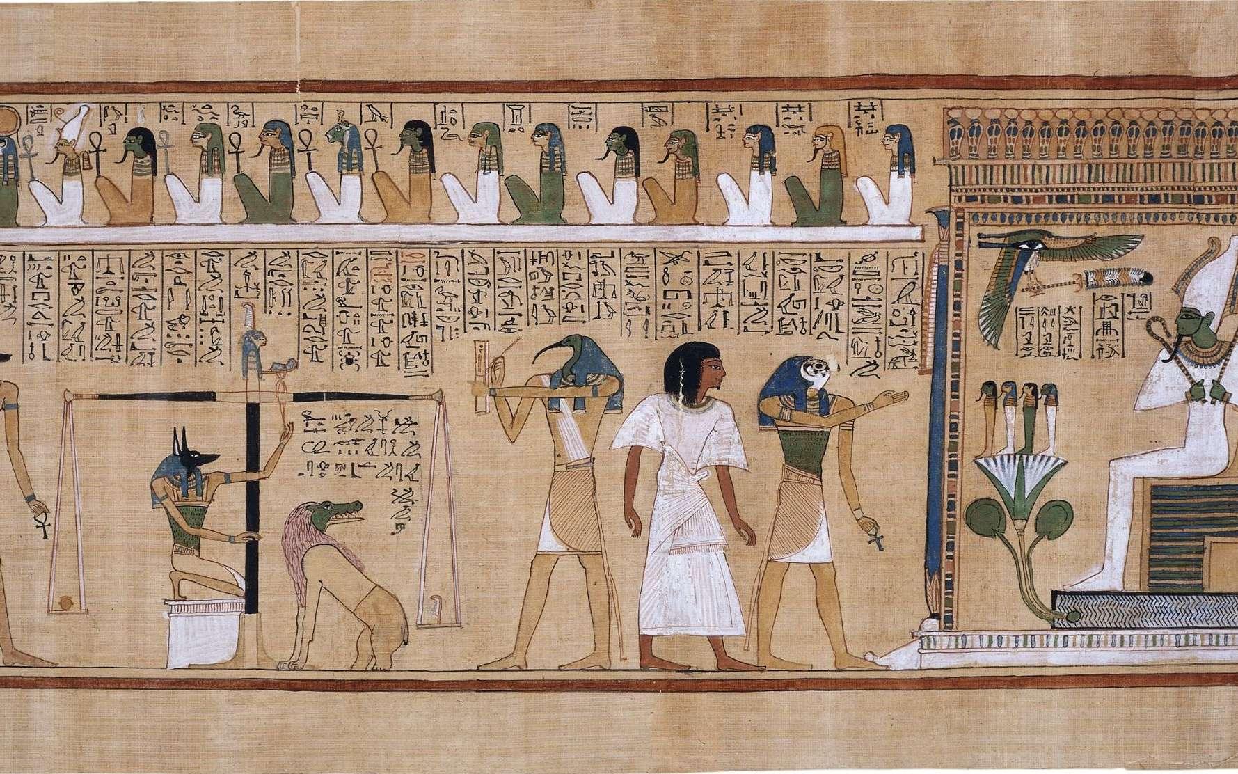 Papyrus d'Ani, « Le livre de la mort des Anciens Égyptiens » vers 1200 avant notre ère. © Source The British muséum, Wikimedia Commons, DP