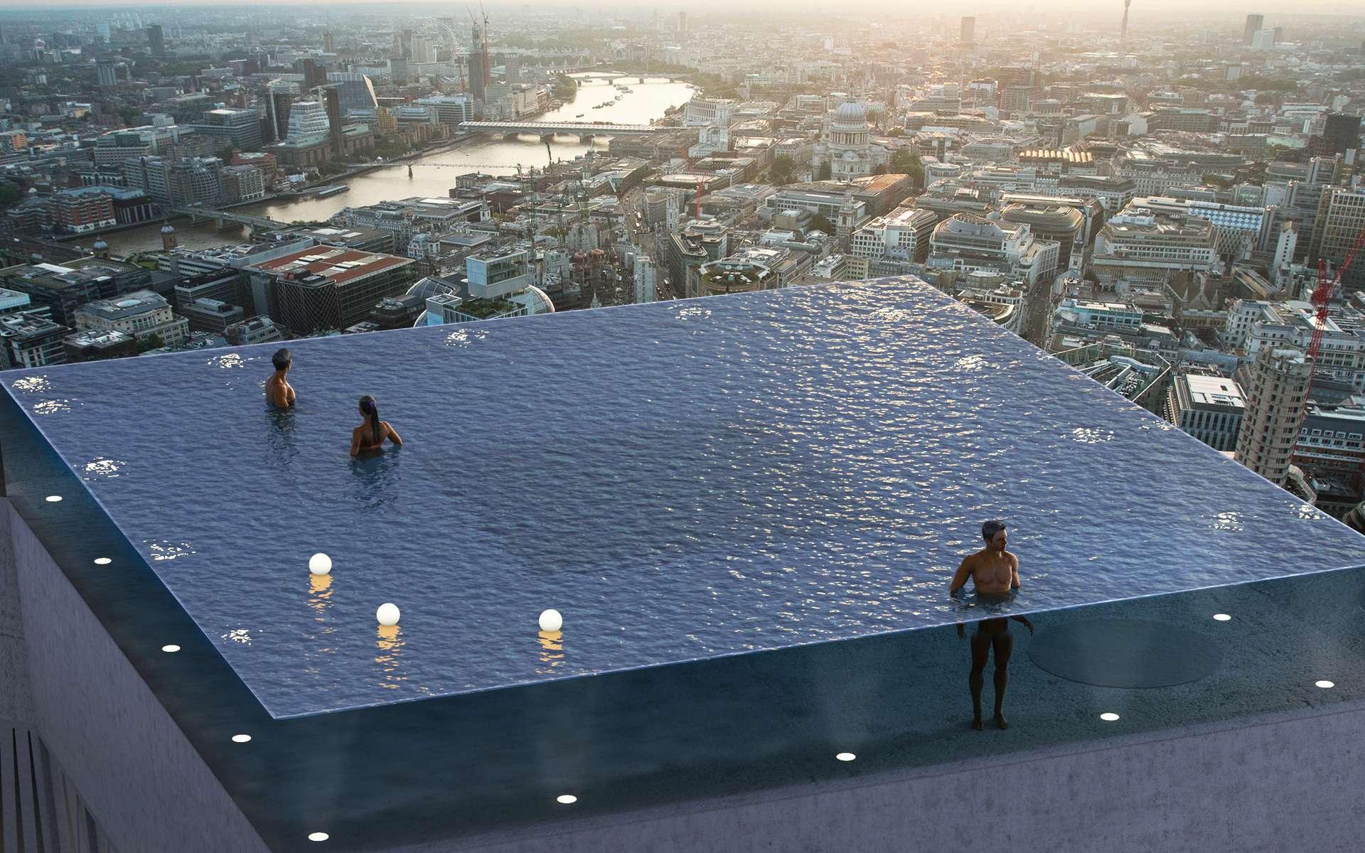 La piscine aux parois transparentes sera installée au sommet de l'un des plus hauts gratte-ciels de Londres. © Courtesy of Compass Pool
