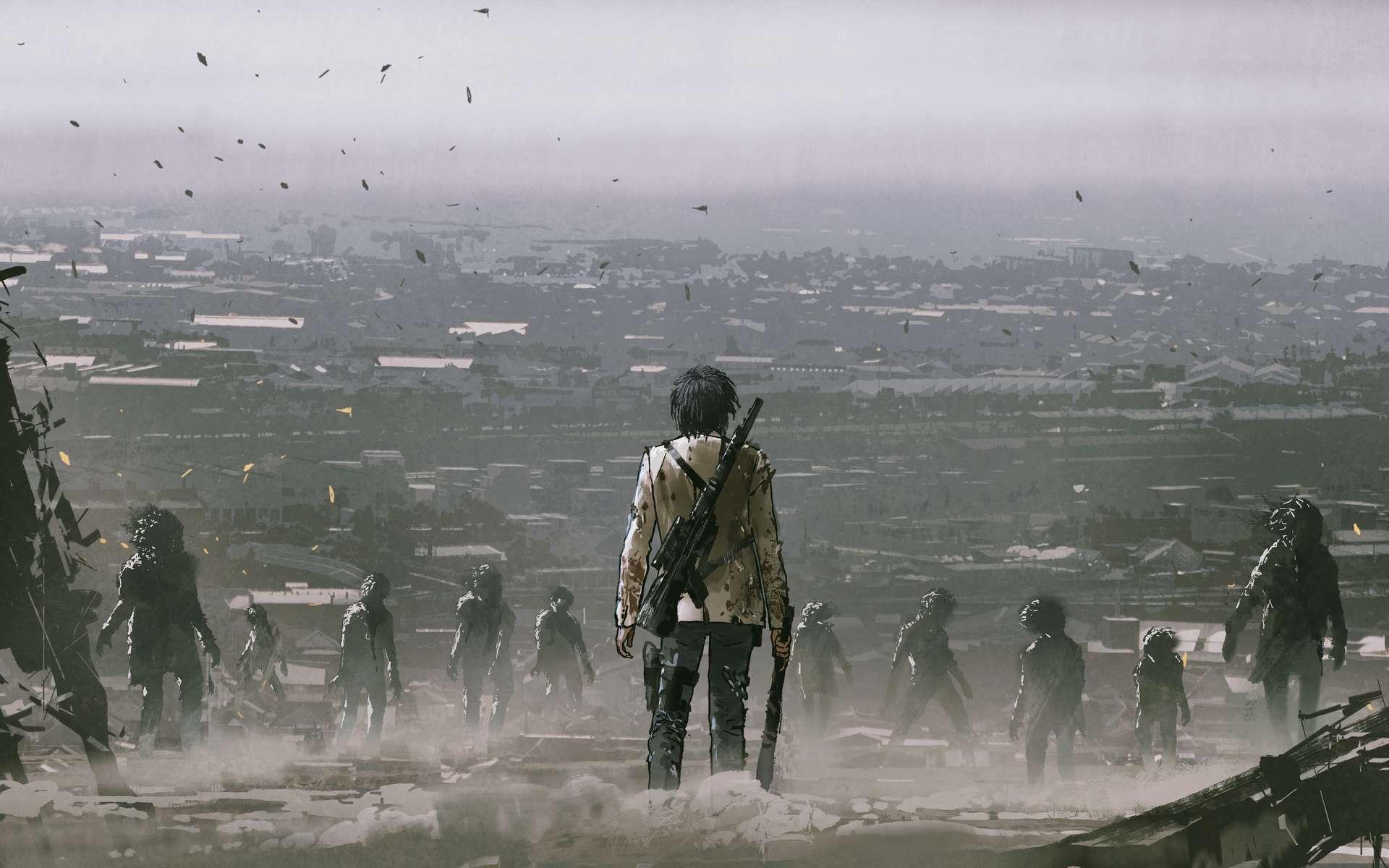 Les habitants du Nouveau Monde découvrent le nouveau visage de leur monde après la pluie de cendre qui s'est abattue sur la planète entière. © grandfailure, Adobe Stock