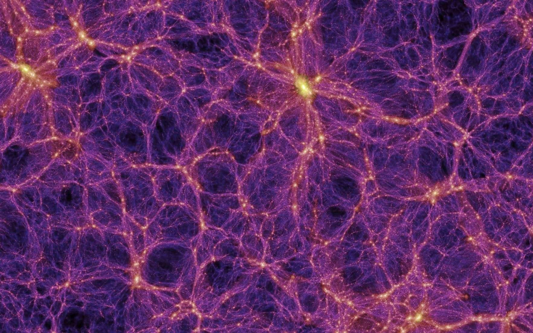 Image tirée d'une simulation de l'univers. Gigantesque toile cosmique tissée d'amas et de superamas de galaxies. Entre les filaments galactiques, on peut observer de grands vides. © Max Planck Institute for Astrophysics