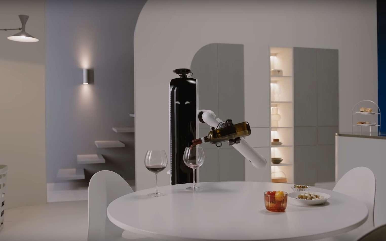 Le Samsung Bot Handy est doté d'un bras pour ranger, remplir le lave-vaisselle et même verser du vin. © Samsung