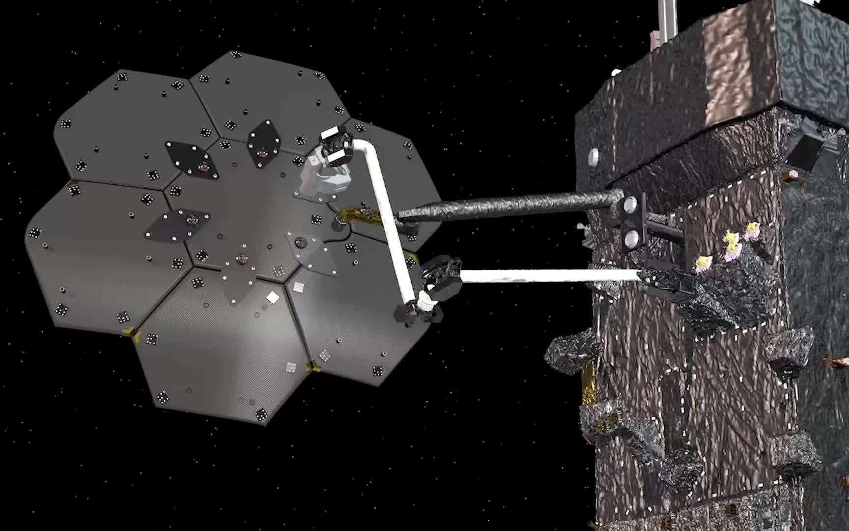 Installés sur le satellite Restor-L de la Nasa, le robot Spider et son bras de 5 mètres assemblent une antenne de communication de 3 mètres de diamètre. © Maxar Technologies