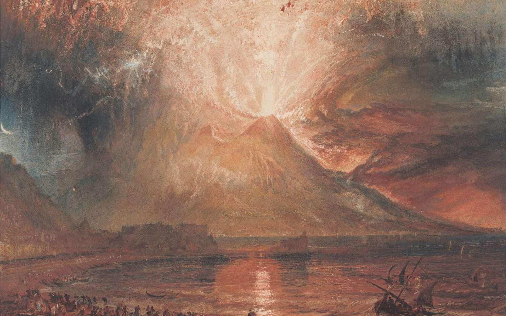 Vue depuis la baie de Naples de l'éruption du Vésuve de l'an 79, imaginée par le peintre William Turner entre 1817 et 1820. © Yale Center for British Art, collection Paul Mellon