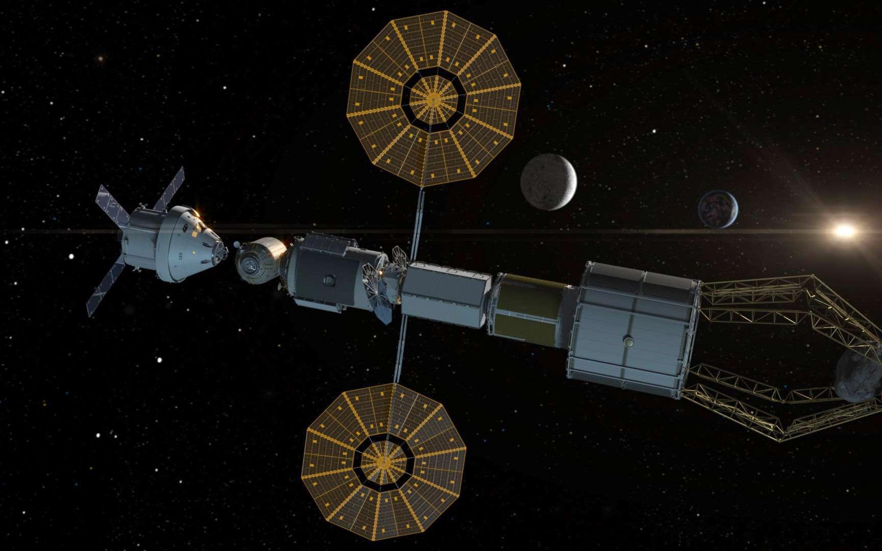 Dans le futur, pour s'amarrer à des modules orbitaux, le véhicule Orion, de la Nasa, pourrait utiliser le mécanisme d'amarrage IBDM, de l'ESA. © Nasa