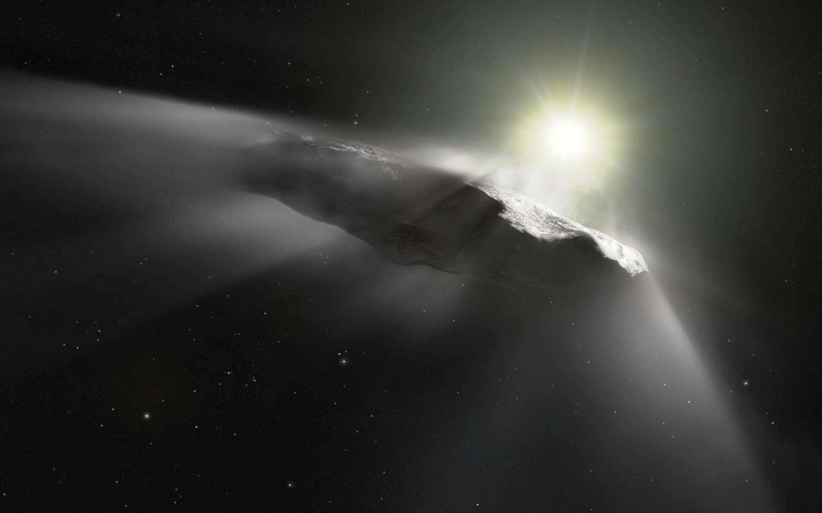 Vue d'artiste d'artiste de 'Oumuamua. Son nom signifie en hawaïen « messager venu de loin et arrivé le premier ». © ESA, Hubble, Nasa, ESO, M. Kornmesser