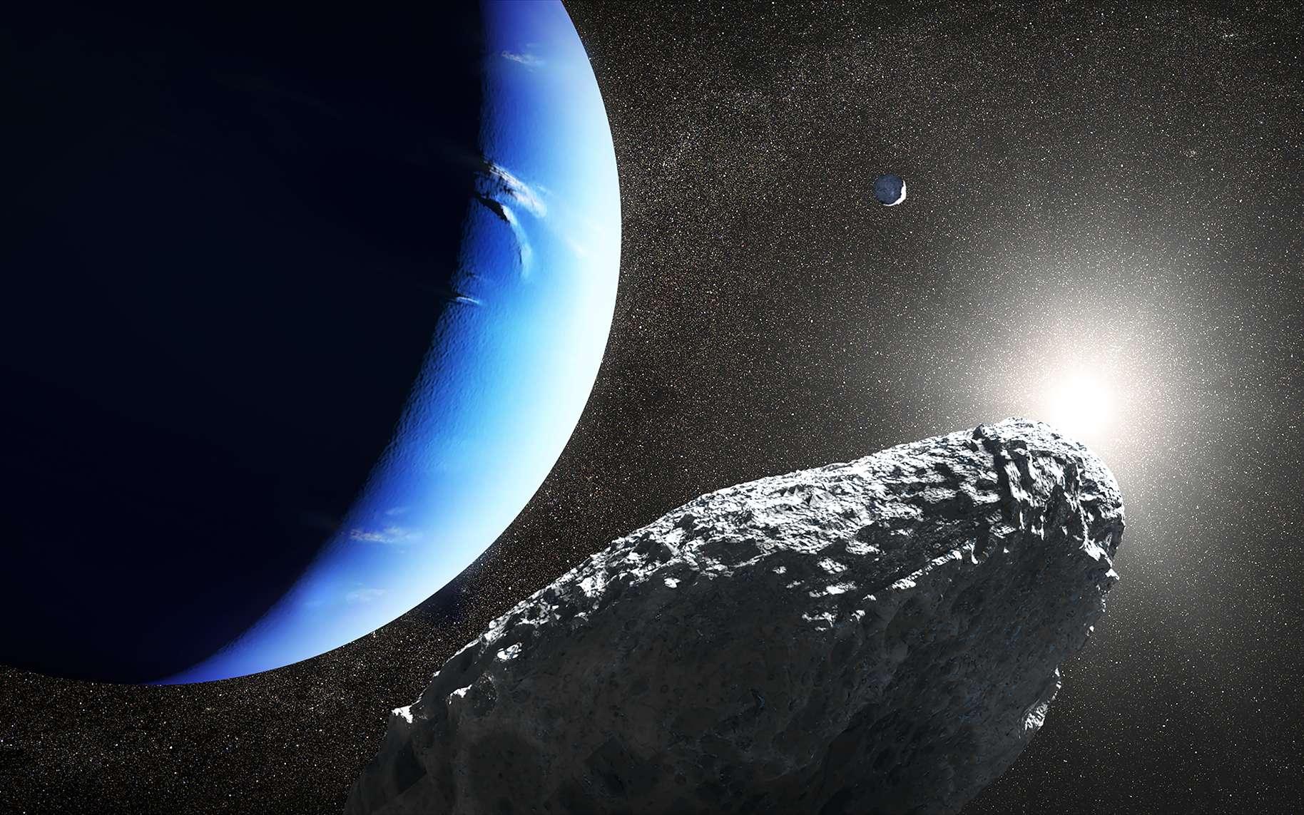Une vue d'artiste d'Hippocampe autour de Neptune. © Nasa, ESA and J. Olmsted (STScI)