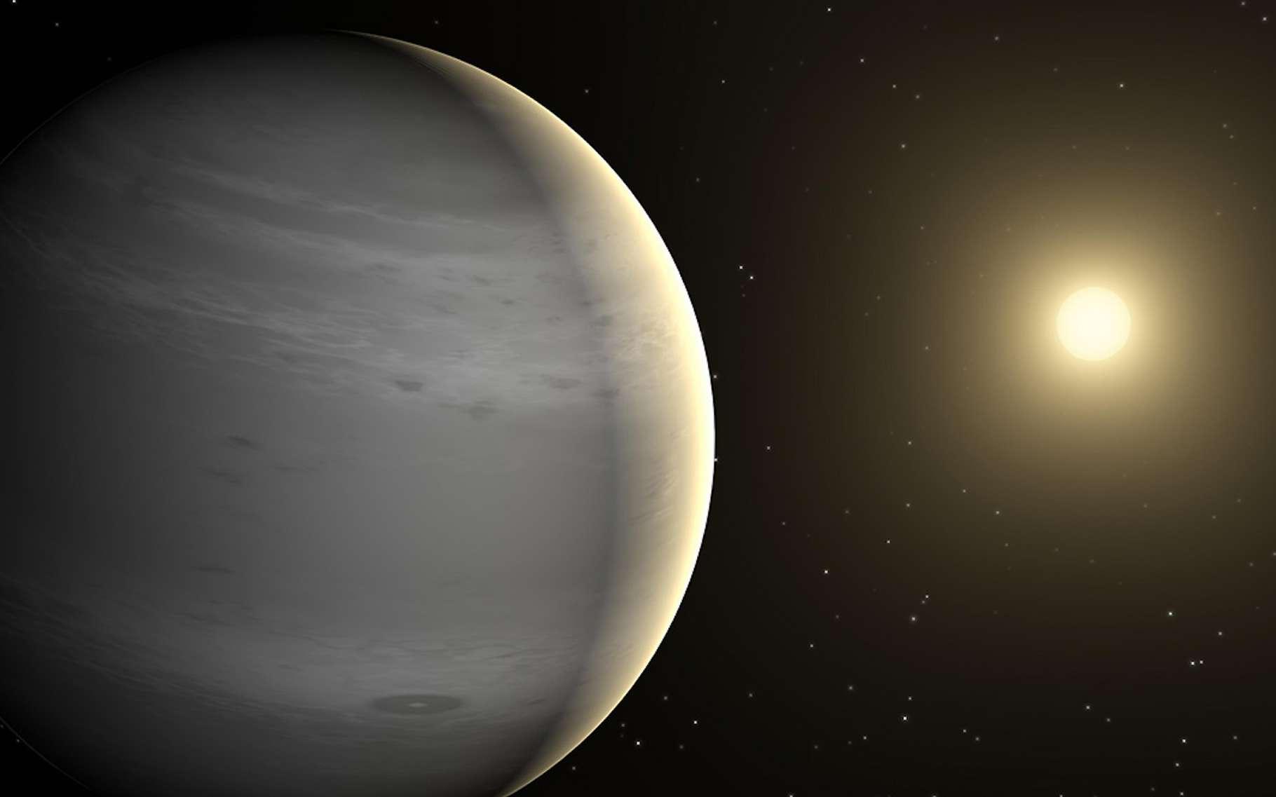 WASP-127b – ici en vue d'artiste – est une planète étonnante à plus d'un titre. Maintenant, des astronomes viennent de détecter de nuages dans son atmosphère. © Nasa