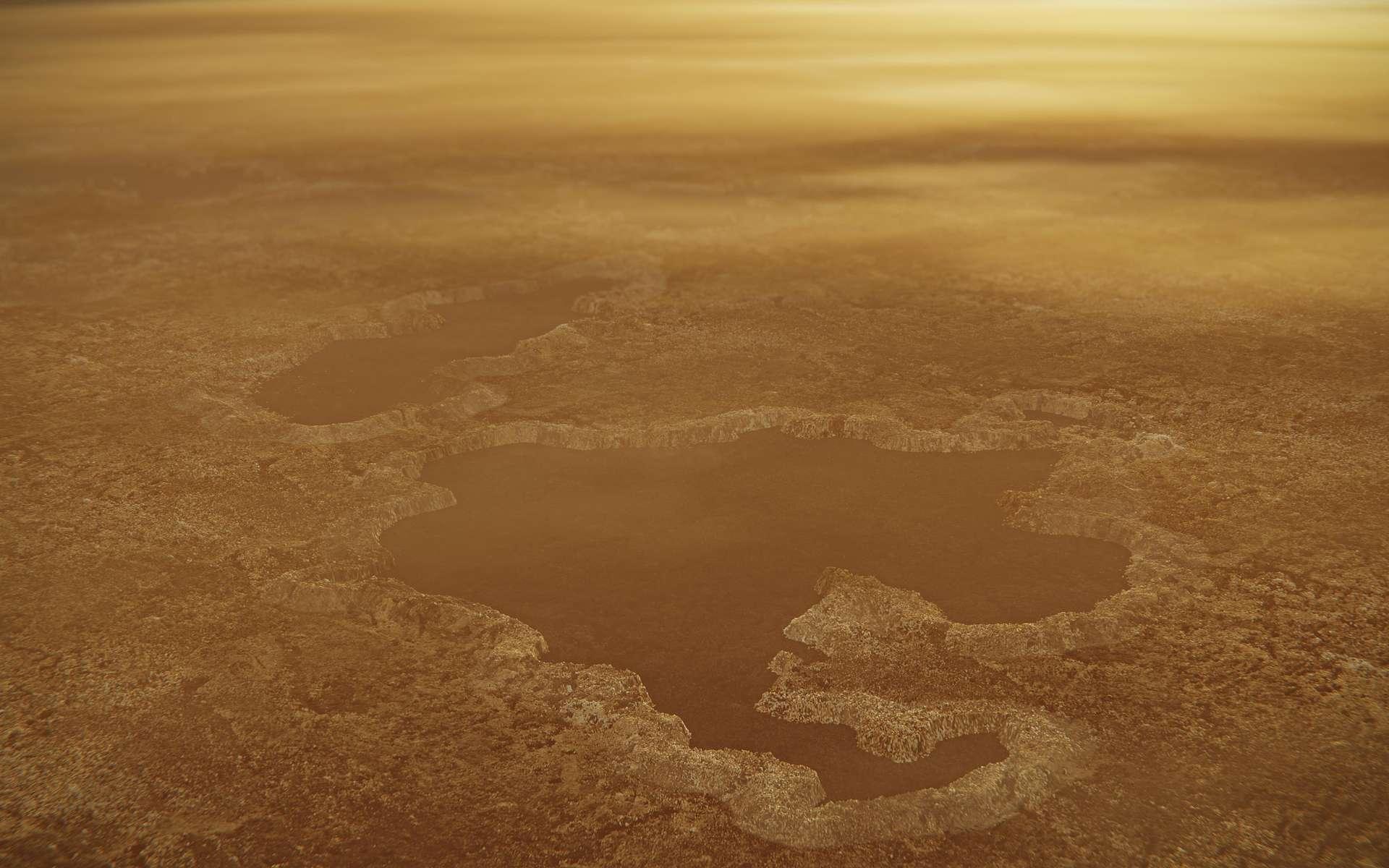 Image radar en fausses couleurs de lacs à la surface de Titan, en particulier Winnipeg Lacus. © Nasa