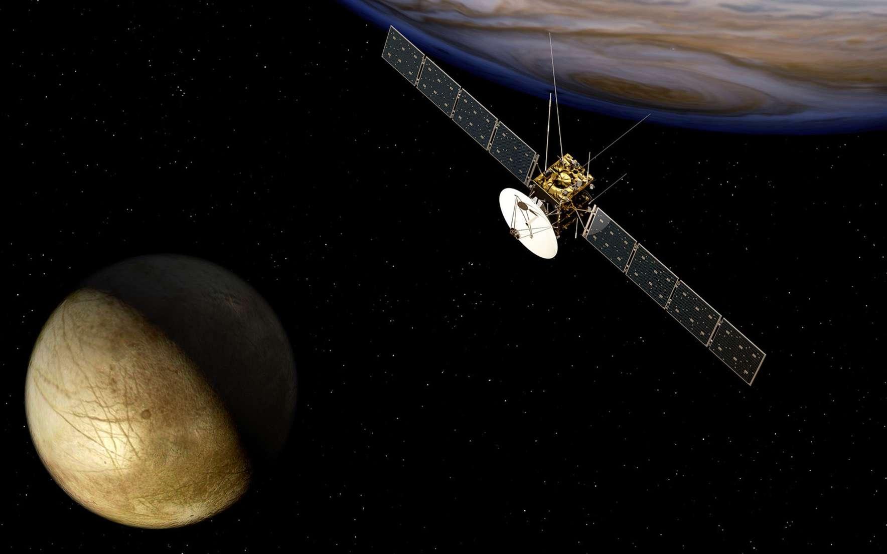 Après Cassini, nous visiterons les lunes glacées de Jupiter. Prévue au lancement en 2022, Juice sera la première sonde de l'Agence spatiale européenne (ESA) à s'aventurer dans le système jovien pour étudier Jupiter et trois de ses lunes. © ESA, AEOS