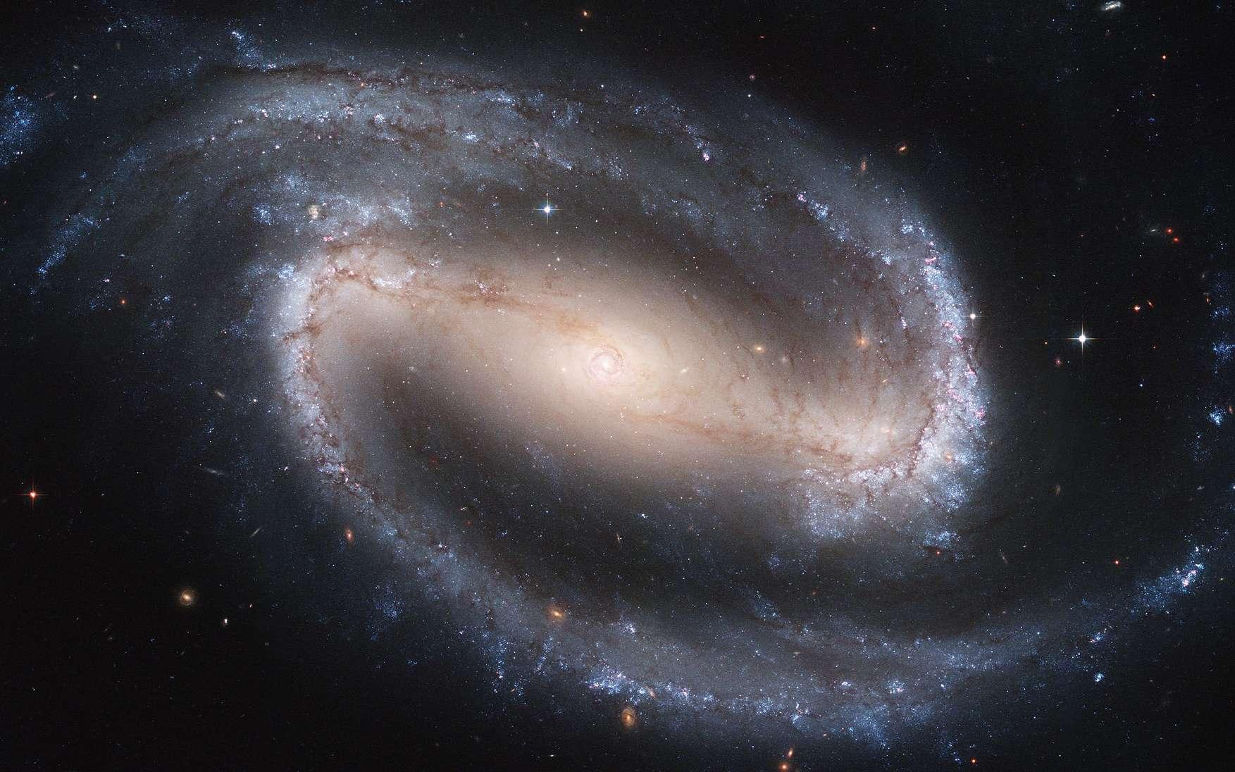 NGC 1300, une galaxie spirale barrée située à 69 millions d'années-lumière de nous dans la constellation de l'Éridan. La lumière des étoiles et de la poussière est visible en bleu. Celle des amas stellaires est soulignée par le rouge de l'hydrogène. Cette image est issue de l'assemblage de deux clichés pris par la caméra ACS de Hubble. © Nasa, Esa