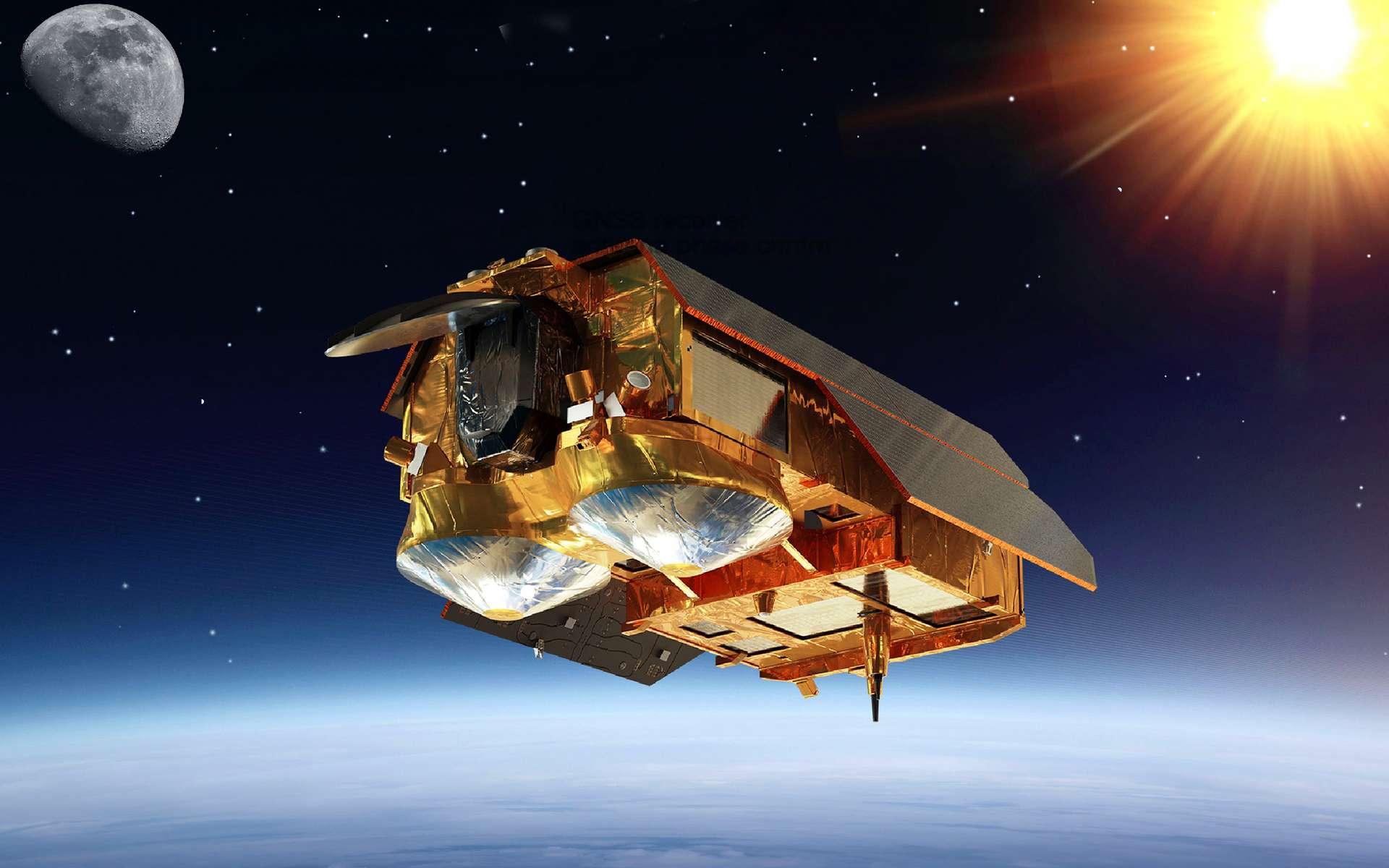 Vue d'artiste du satellite d'observation de la Terre Cristal. Réalisé par Airbus et Thales Alenia Space, ce satellite aura pour principaux objectifs la topographie des glaces et des neiges polaires. © Airbus