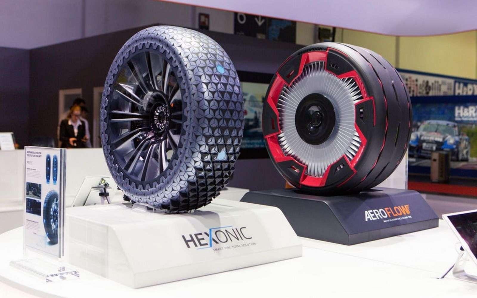 Les concepts de pneus futuristes Aeroflow et Hexonic du manufacturier Hankook. © Hankook
