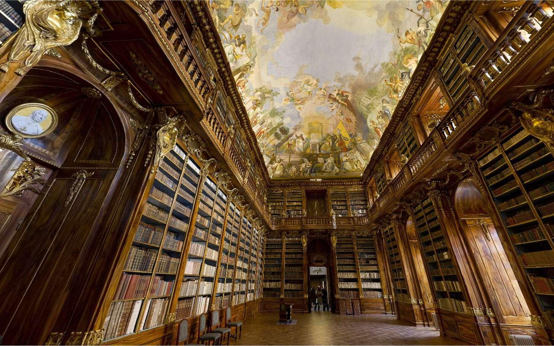 La salle de Philosophie dans la bibliothèque du monastère Strahov, à Prague, visible sur une seule image. © 360 GeoCities