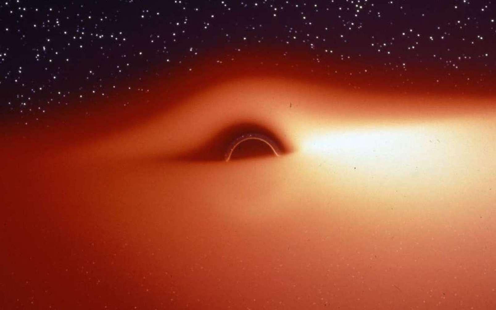Une simulation réaliste montrant le disque d'accrétion chaud entourant un trou noir. © Jean-Pierre Luminet, Jean-Alain Marck