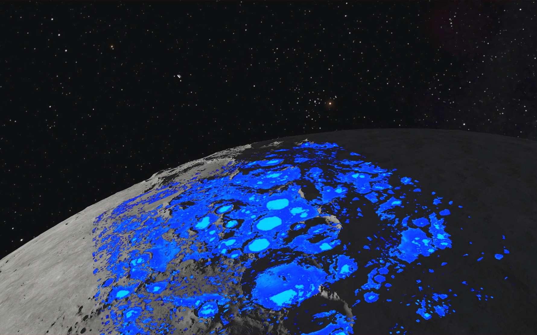 Carte des dépôts de glace d'eau dans le sous-sol lunaire situés à un mètre de profondeur. © Data from Paige et al., Science