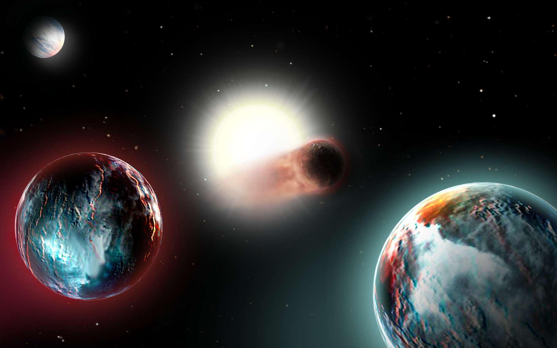 Des astronomes de l'Institut Leibniz d'astrophysique de Potsdam (Allemagne) annoncent que les quatre planètes découvertes récemment autour de l'étoile V1298 Tauri ont peu de chance de réussir à conserver leur atmosphère. Leur soleil est en train de les « cuire ». © J. Fohlmeister, Institut Leibniz d'astrophysique de Potsdam