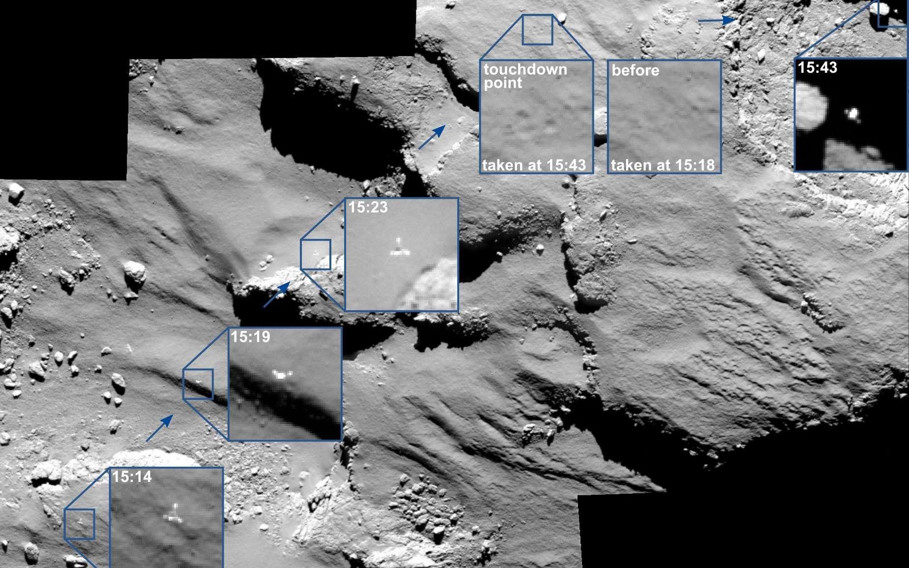 Sur la sonde Rosetta, l'instrument Osiris a suivi Philae avant et après son premier rebond sur la comète. © Esa/Rosetta/MPS for Osiris Team MPS/UPD/LAM/IAA/SSO/INTA/UPM/DASP/IDA