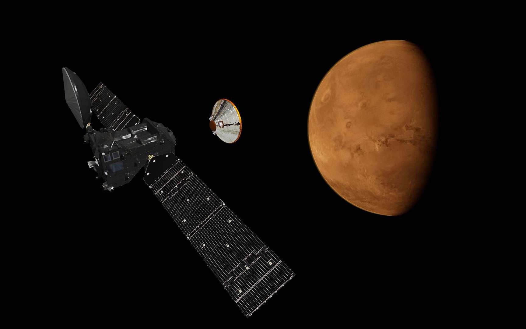 Malgré un départ retardé de plus de deux mois, la sonde ExoMars devrait tout de même arriver autour de la Planète rouge en octobre 2016. © Esa, ATG medialab