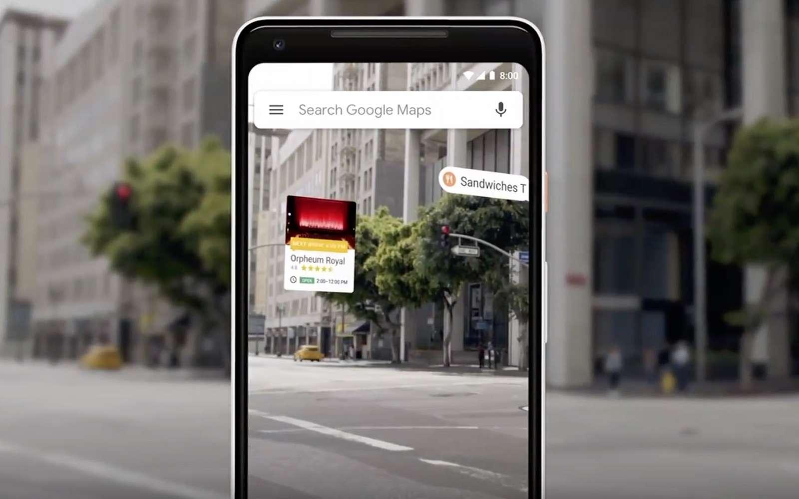 Avec la réalité augmentée, Google Maps affiche en temps réel les noms des immeubles, ou des boutiques, lorsque vous pointez le smartphone vers une rue. © Google
