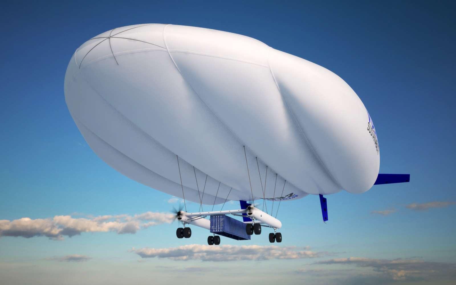 La Natac (Navette aérienne de transport automatique de conteneurs) est un hybride dirigeable-avion qui pourrait transporter de lourdes charges sur 500 km pour un coût faible. © Voliris
