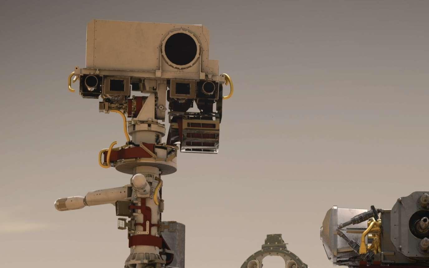 L'instrument SuperCam installé sur le rover Perseverance. La photographie a été prise en juillet 2019 dans les installations du JPL, à Pasadena en Californie. © Nasa, Cnes, JPL-Caltech
