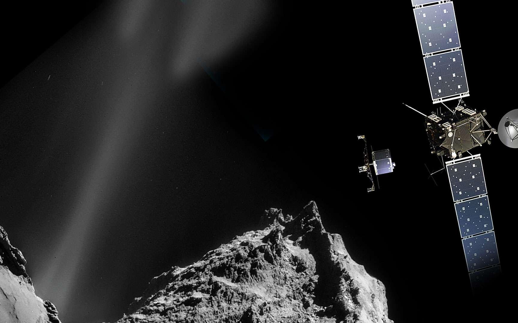 Vue d'artiste de Rosetta. La sonde ROSETTA a pour mission de recueillir des données sur la comète 67P, Churyumov-Gerasimenko. Sur son trajet, elle aura aussi observé les astéroïdes Steins et Lutèce. Elle dispose d'un petit atterrisseur, Philae, qui se posera sur la comète. © ESA – CNES - ARIANESPACE / SERVICE OPTIQUE DU CSG