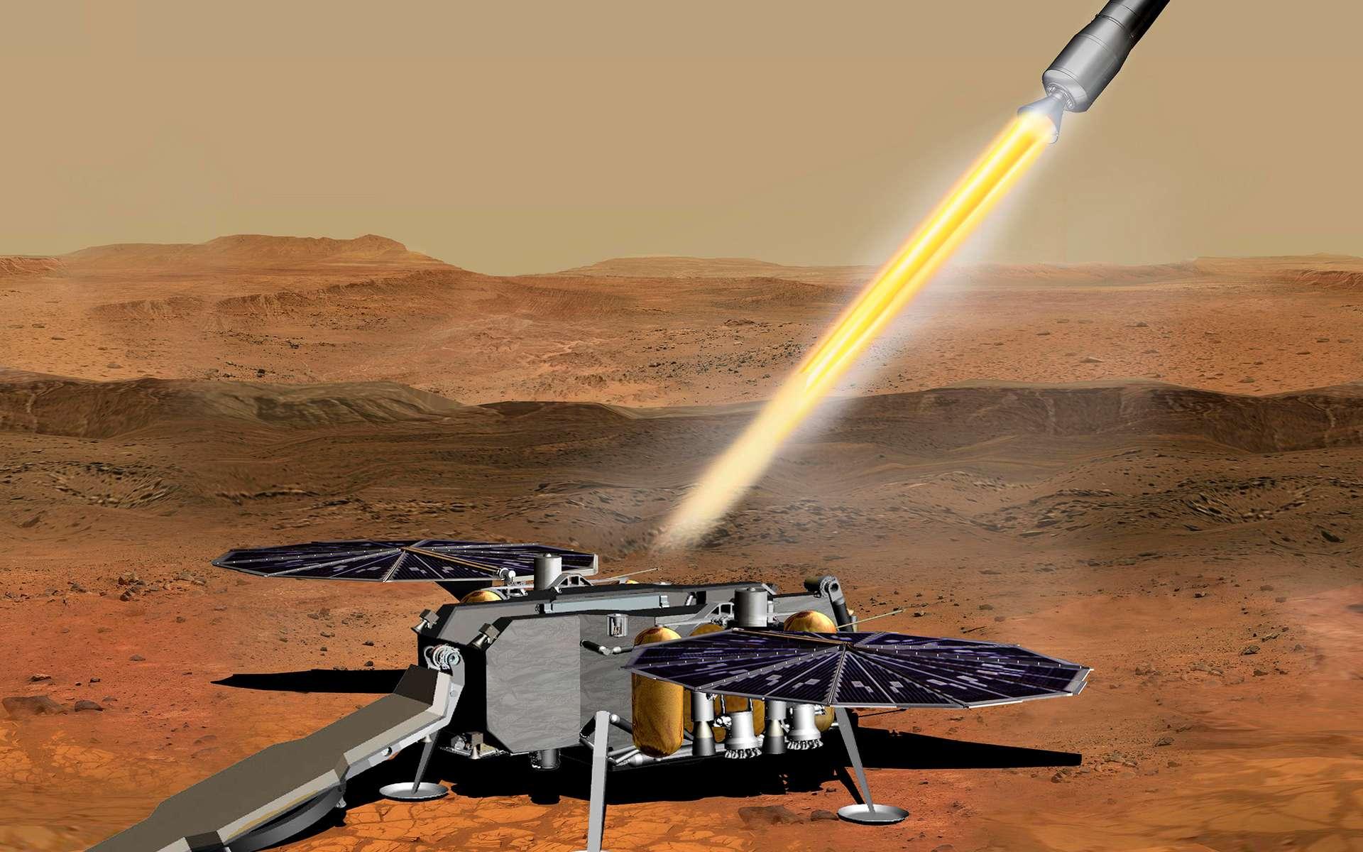 Le véhicule d'ascension martien (MAV) qui emportera en orbite martienne les échantillons du sol martien qui seront rapportés sur Terre. © Nasa, JPL