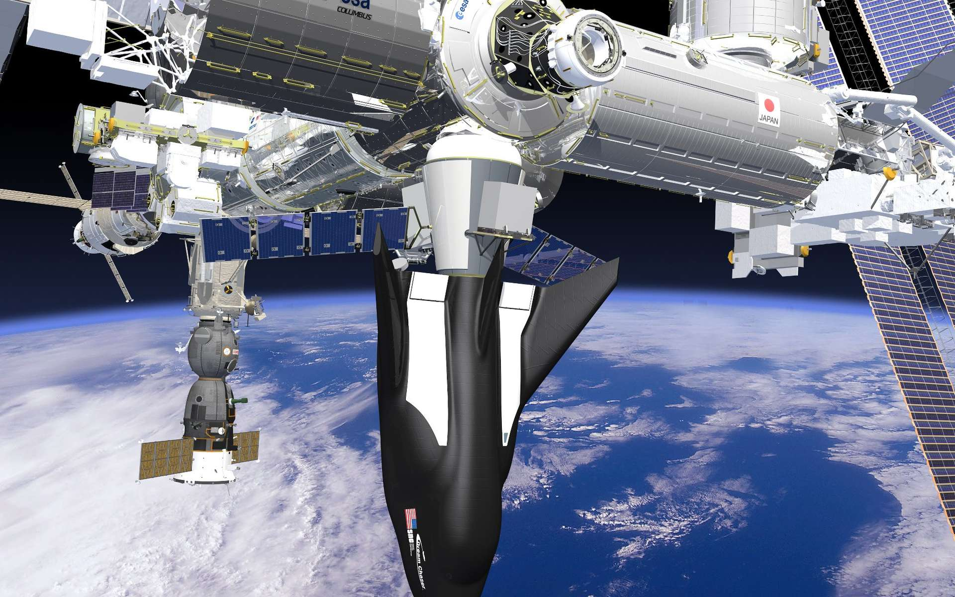 La version cargo du Dream Chaser de Sierra Nevada a décroché une partie du deuxième contrat de ravitaillement en fret de la Station spatiale internationale qu'elle pourra ravitailler au côté du Dragon de SpaceX et du Cygnus d'Orbital. © Sierra Nevada