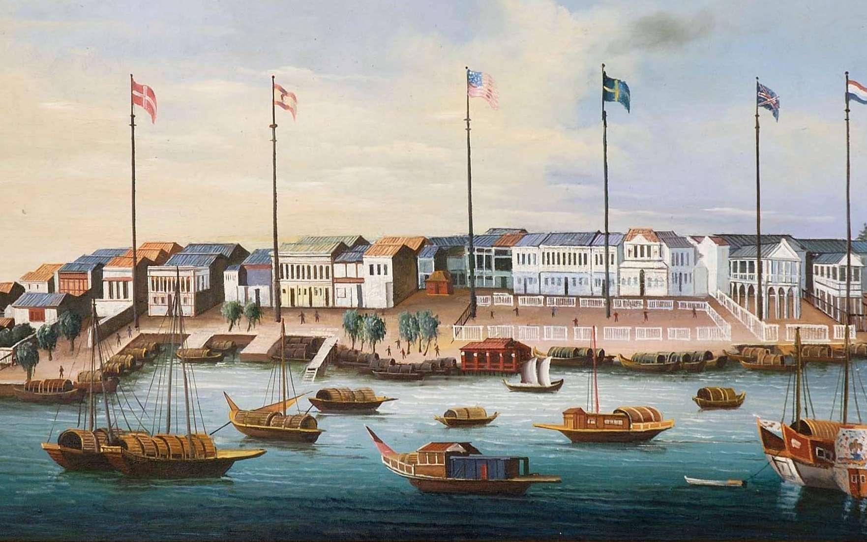 « Les treize factoreries de Canton », copie de 1820 d'après un tableau de 1780, auteur inconnu. Une factorerie est un comptoir de commerce colonial. © Richard Rothstein, Wikimedia Commons, domaine public.
