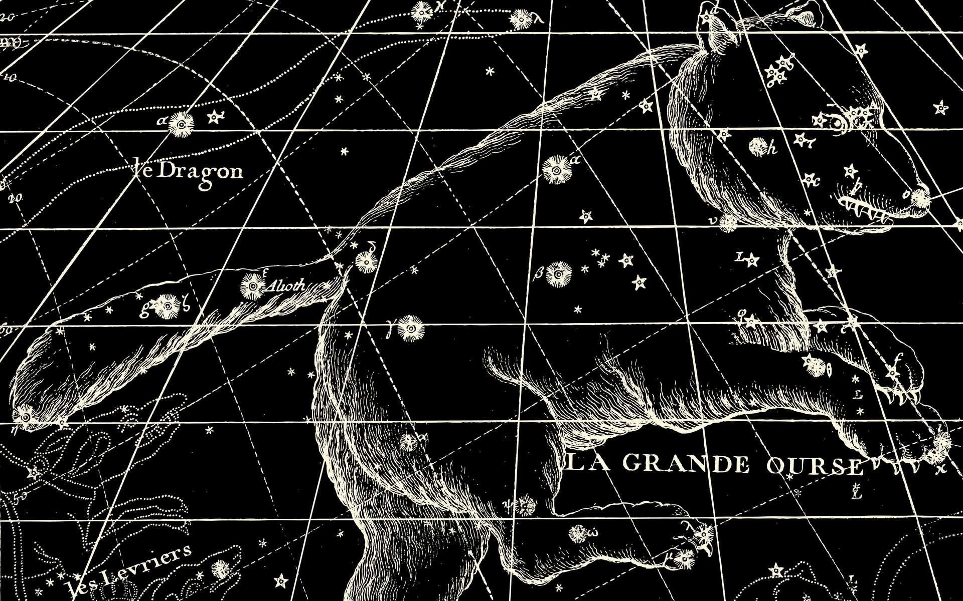 Représentation de la Grande Ourse sur une ancienne carte du ciel. © lynea, fotolia