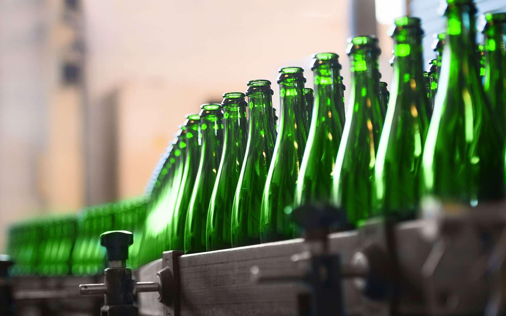 Bouteilles à la queue leu leu. Les bouteilles n'ont plus qu'à passer les contrôles et les tests de qualité et de sécurité. Les bouteilles défaillantes sont éliminées, parfois par lots, et repartent dans le cycle de recyclage © SvedOliver, Shutterstock