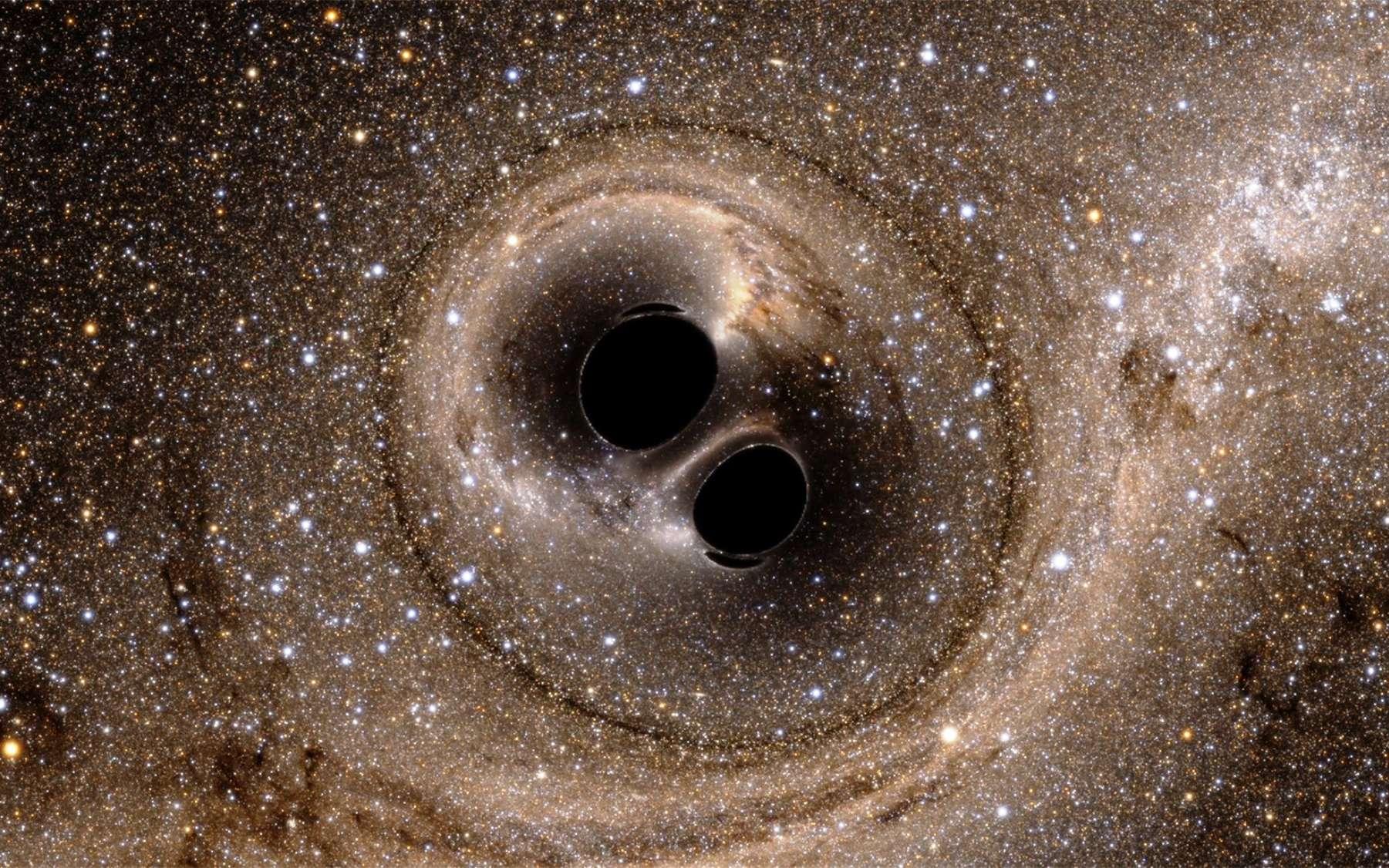 Ligo (Laser Interferometer Gravitational-Wave Observatory) a permis de détecter l'onde gravitationnelle produite par la collision puis la fusion de deux trous noirs d'environ 30 masses solaires chacun. À quoi aurait ressemblé visuellement l'évènement pour des observateurs installés à quelques milliers de kilomètres ? Des simulations numériques permettent de le découvrir ; cette image, qui illustre des effets de lentille gravitationnelle, est extraite de l'une d'elles. © SXS (Simulating eXtreme Spacetimes project)