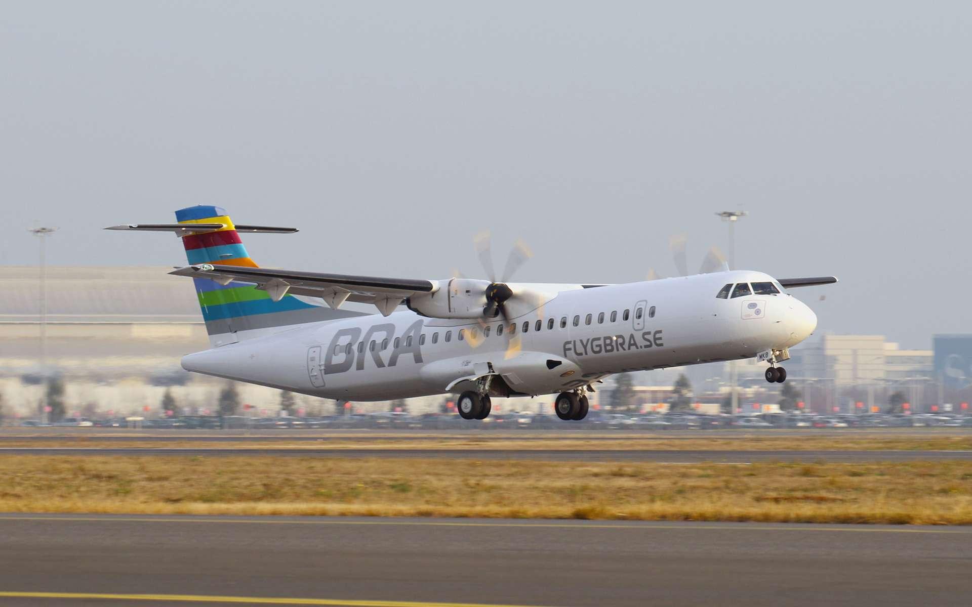 L'ATR 72-600 de la compagnie aérienne BRA qui a réalisé un « vol commercial parfait » démontrant que l'aviation peut réduire son impact négatif sur l'environnement. © Braathens Regional Airlines (BRA)