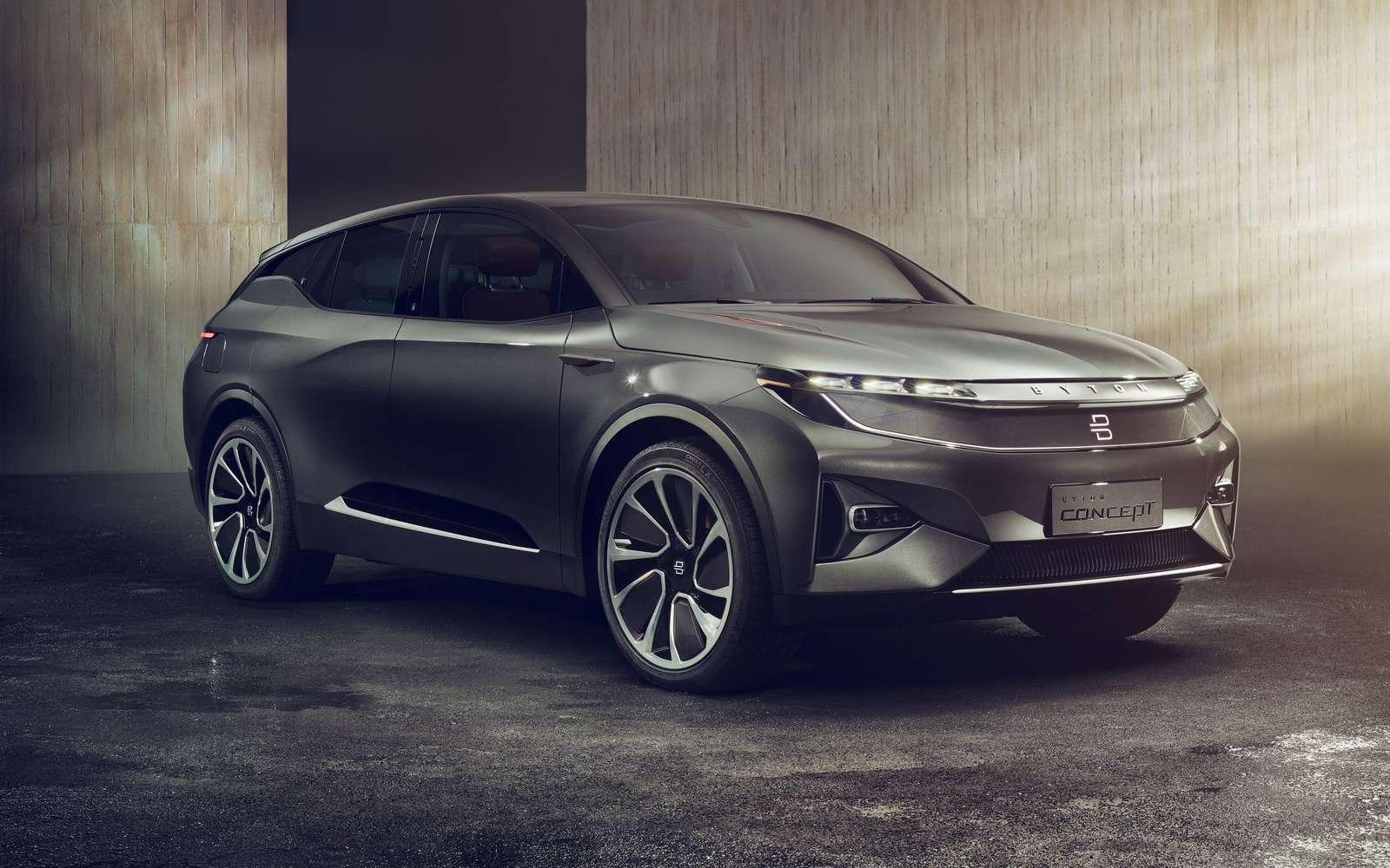Le concept-car de l'entreprise chinoiss Byton dévoilé au CES 2018 est très abouti. Il sera commercialisé dans une version quasiment identique dès l'année prochaine. © Byton
