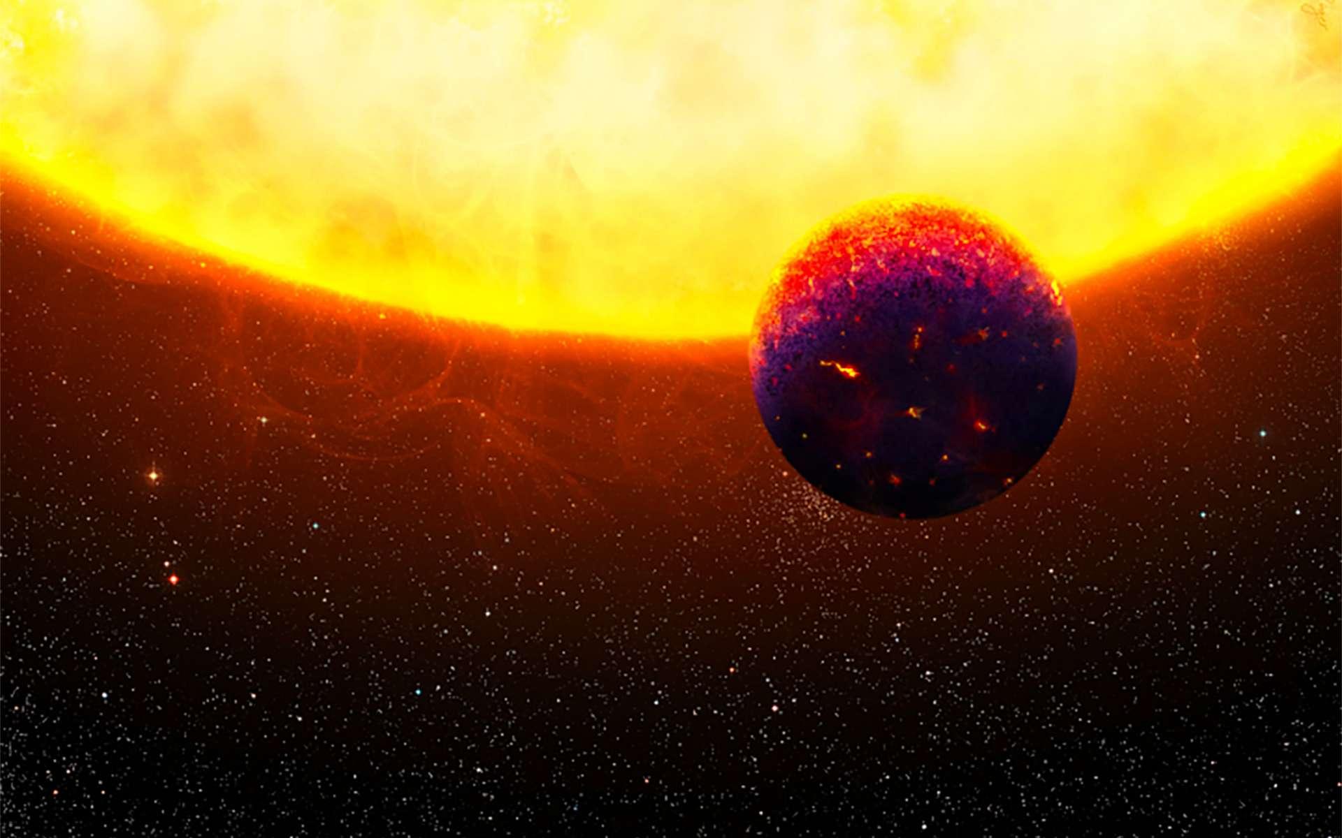 Illustration d'une planète en orbite très proche autour de son étoile parent. © Thibaut Roger