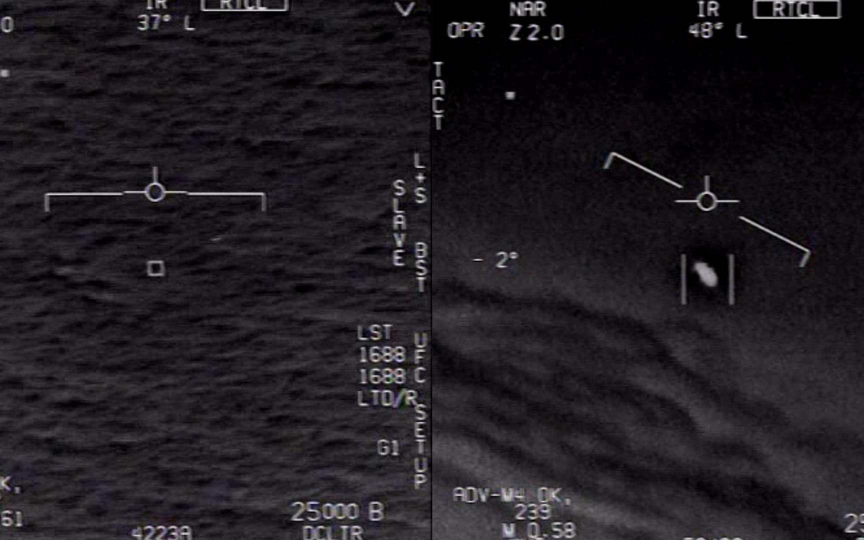 Phénomènes aériens non identifiés capturés par des pilotes d'avions de chasse américains en 2004 et 2015. © DOD, U.S. Navy
