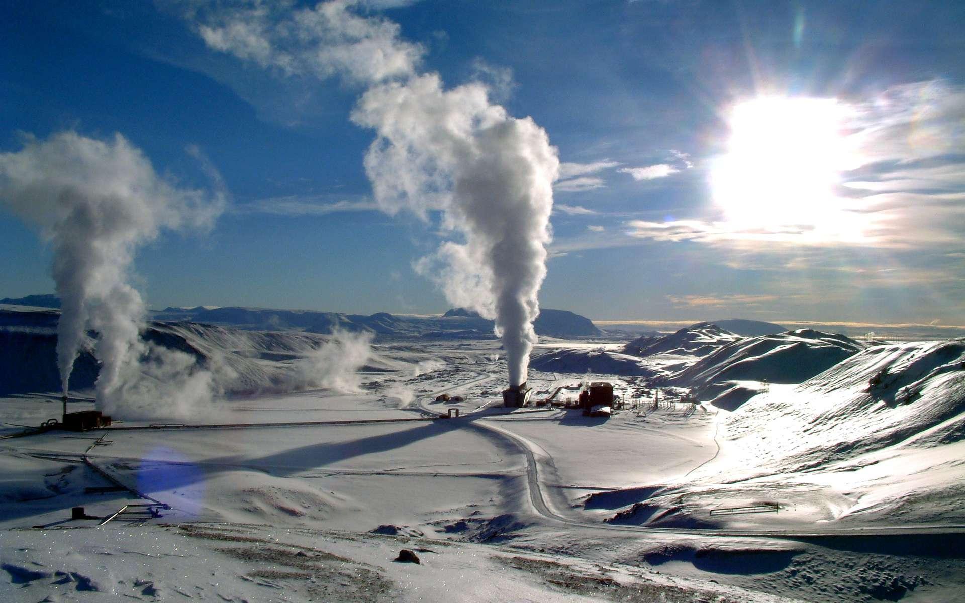 Le champ géothermique de Krafla en hiver. © Ásgeir Eggertsson/wikipédia