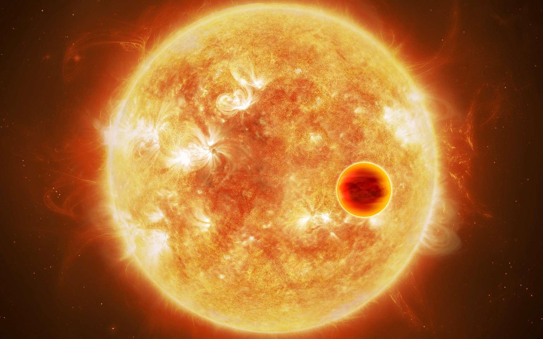Une vue d'artiste d'une Jupiter chaude autour de son étoile hôte. © ESA/ATG medialab, CC by-sa 3.0 IGO