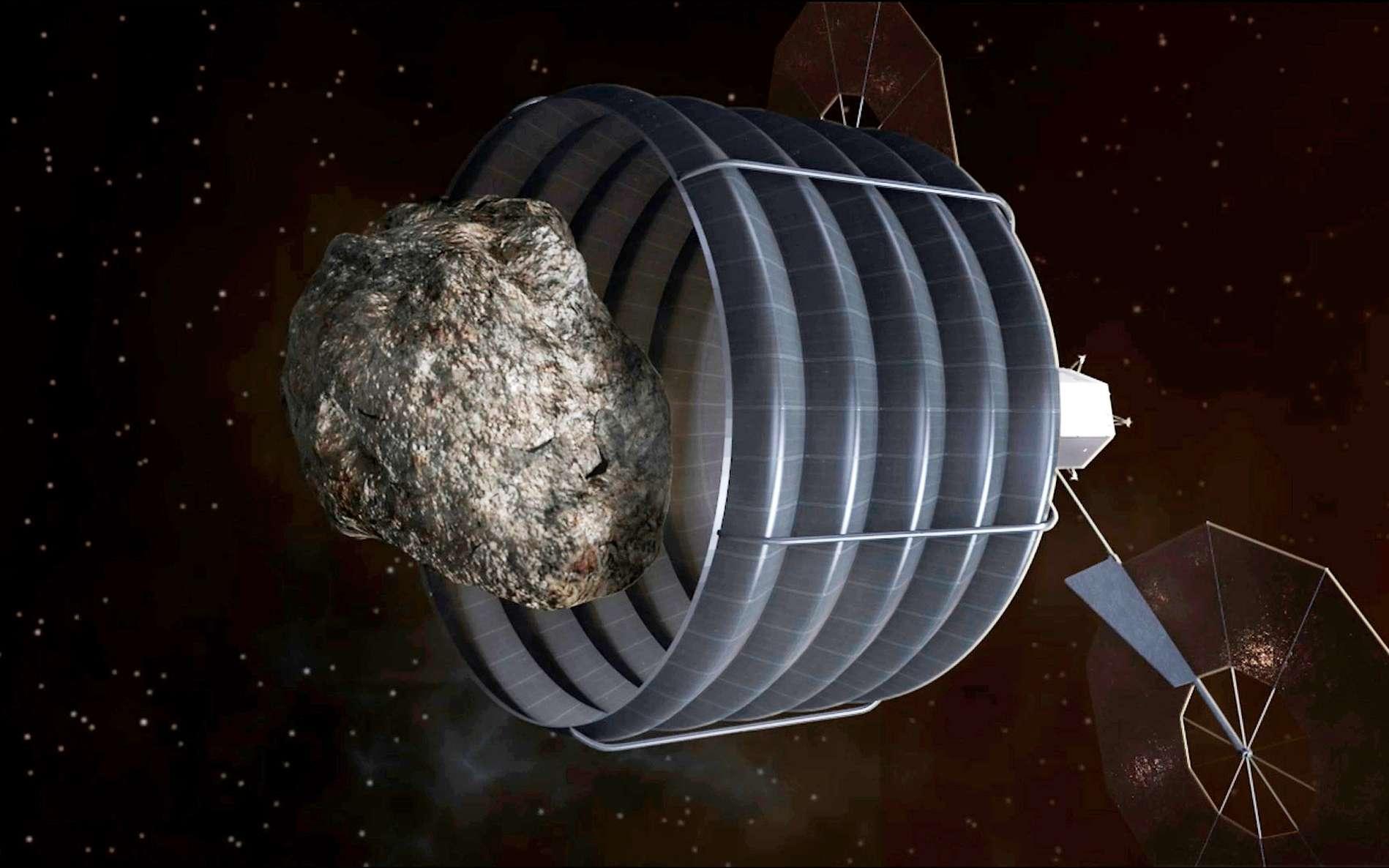 Un jour, peut-être, un engin spatial pourra dévier un astéroïde, voire le capturer comme dans ce projet de la Nasa, qui restera une vue d'artiste pour plusieurs années encore. © Nasa