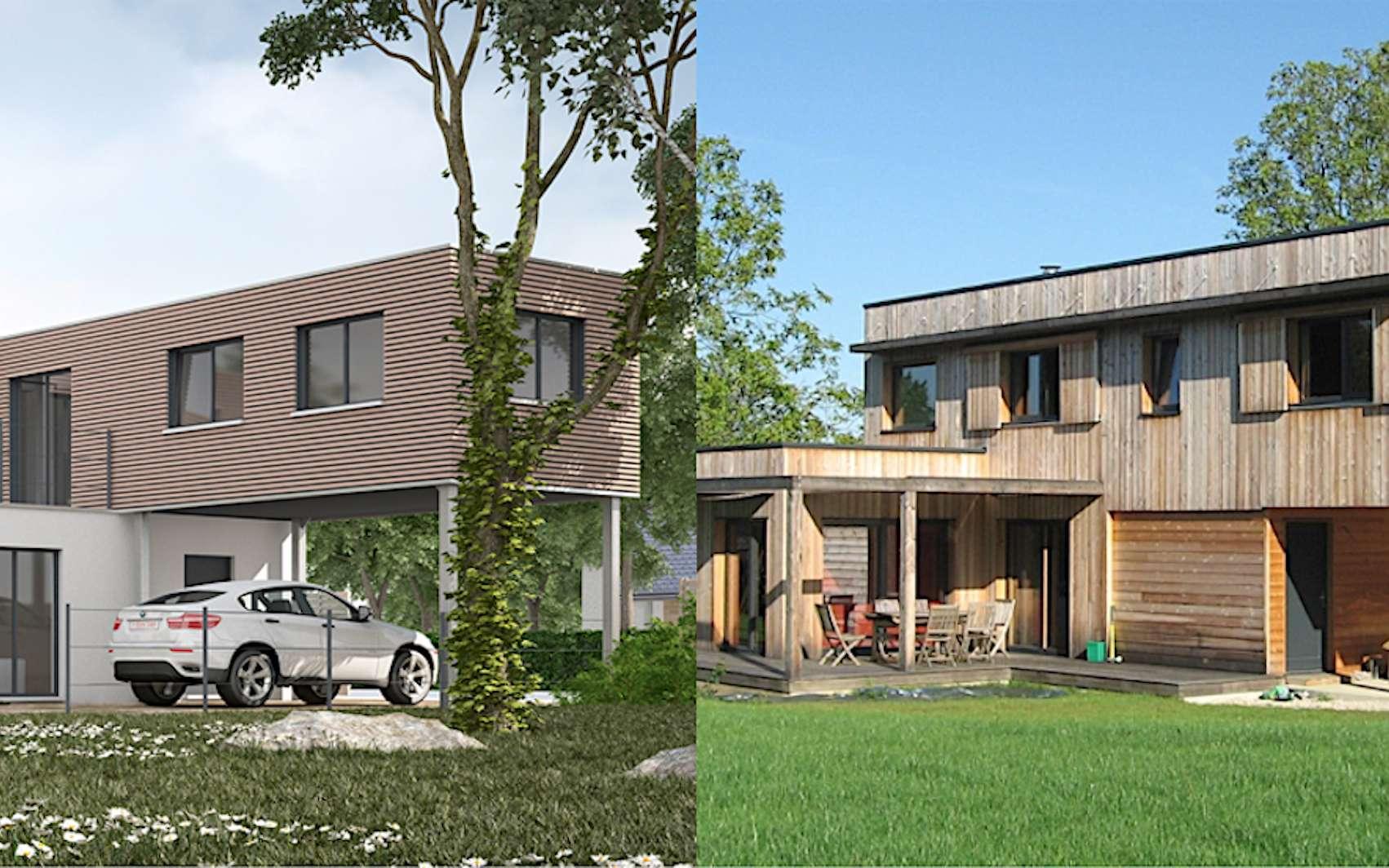 Maison modulaire « California » de Modulart, à gauche ; maison bioclimatique de Arborès Architecture, à droite. © Modulart, Arborès Architecture