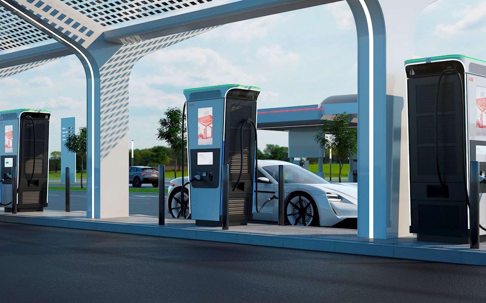 La borne de recharge Terra 360 d'ABB est destinée aux stations-service et aux entreprises. © ABB