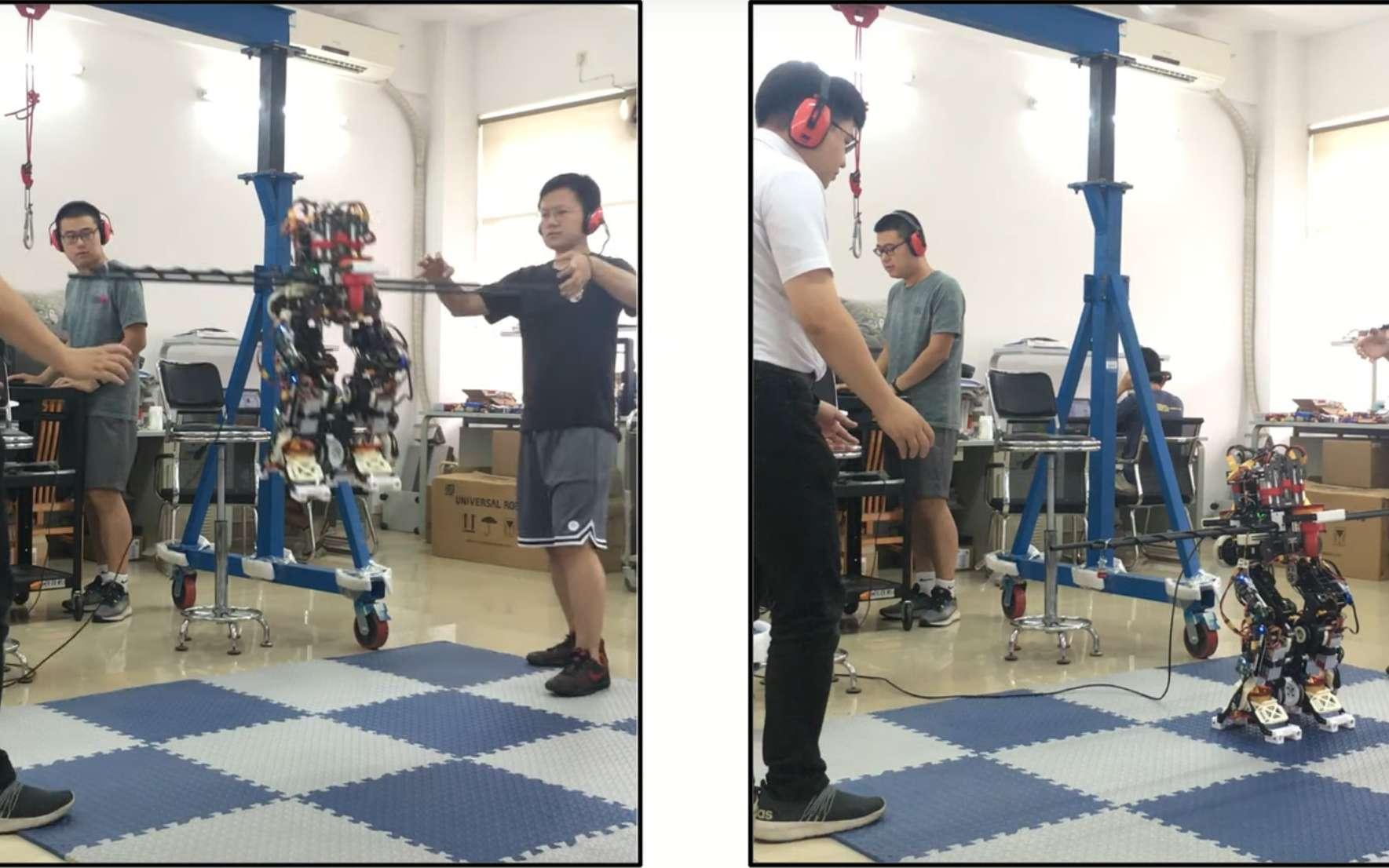 Le robot humanoïde Jet-HR2 parvient à décoller grâce à des soufflantes placées à sa taille et dans ses pieds. © Université de technologie du Guangdong