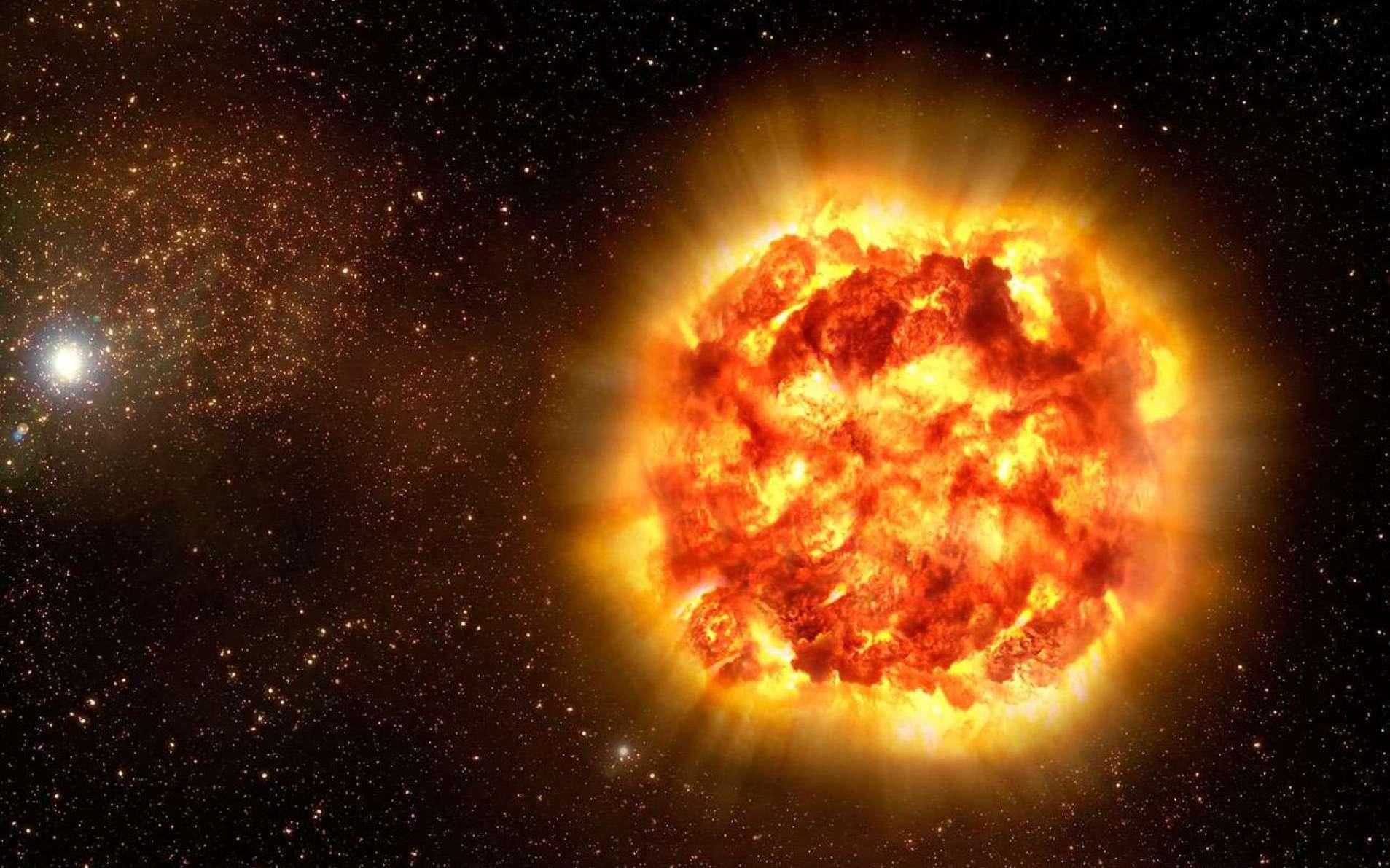 Certaines des supernovae de la Voie lactée sont des SN II, d'autres des SN Ia. Si, comme le montre cette vue d'artiste d'une telle explosion, elles sont bien visibles à quelques années-lumière pour un observateur dans le disque galactique, elles ne le sont pas pour d'autres. En effet, les nuages de poussière de la Voie lactée ne laissent passer sur de longues distances que la lumière infrarouge, et pas la lumière visible. © ESO