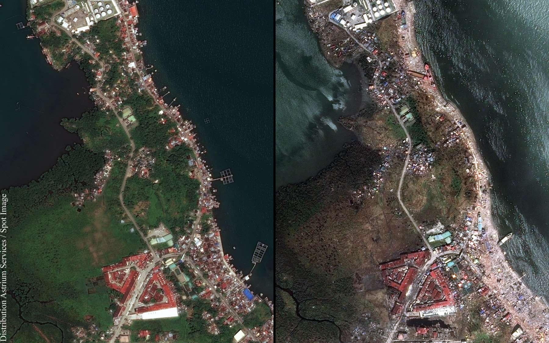 Ces deux images montrent les effets du typhon Haiyan, qui s'est abattu sur les Philippines le 8 novembre 2013, et l'étendue des dégâts qu'il a provoqués. Les deux scènes ont été acquises par un satellite Pléiades le 7 mars 2013 et le 13 novembre 2013. © Cnes, Distribution Astrium Services, Spot Image, 2013