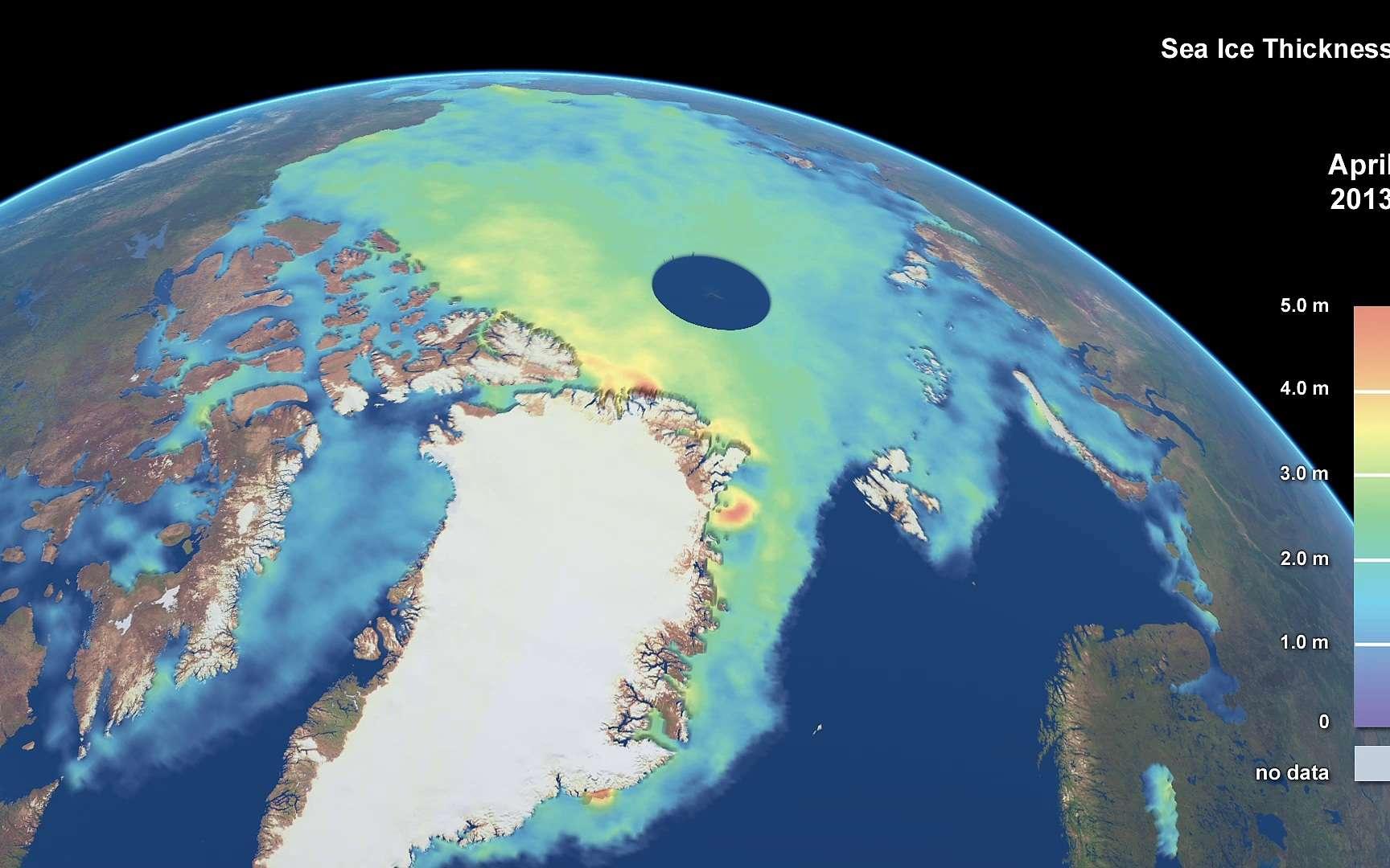 Analyse de l'épaisseur de la banquise en Arctique par le satellite Cryosat, de l'Esa, ici sur une image saisie en avril 2013. L'extension ou la réduction des surfaces de glace de mer, des glaciers et des inlandsis font partie des instruments permettant de suivre l'évolution du climat. © Planetary Visions/CPOM/UCL/Esa