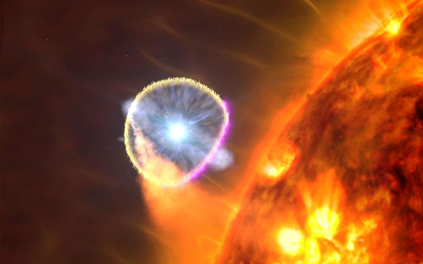 L'étoile naine blanche du V407 Cygni, illustrée ici dans le concept d'un artiste, est devenue nova en 2010. Les scientifiques pensent que l'explosion a principalement émis des rayons gamma (magenta) lorsque l'onde de souffle a traversé l'environnement riche en gaz près de l'étoile géante rouge du système. © Goddard Space Flight Center / S de la NASA. Wiessinger