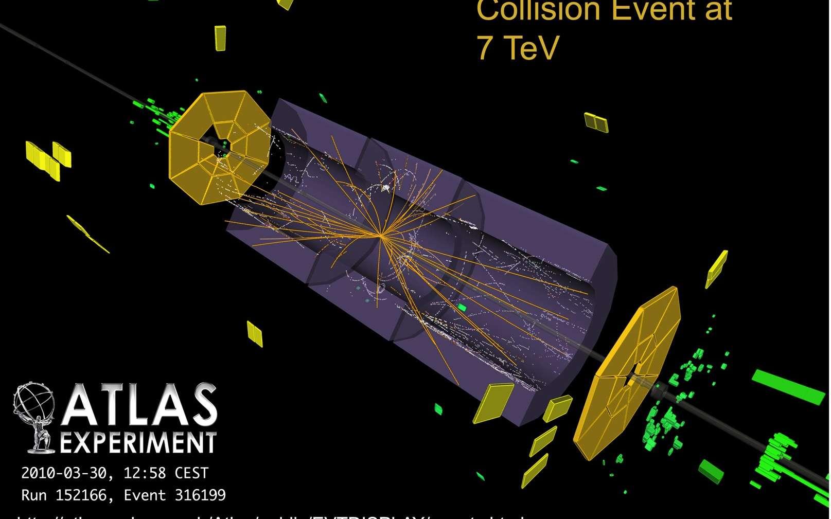 Peu avant 13 h, des collisions à des énergies jamais encore produites sont enfin arrivées dans le détecteur Atlas. Les trajectoires en jaune de certaines des particules parmi les plus intéressantes sont clairement visibles sur cette image obtenue avec des ordinateurs à partir des capteurs équipant Atlas. Crédits : Claudia Marcelloni-Cern.