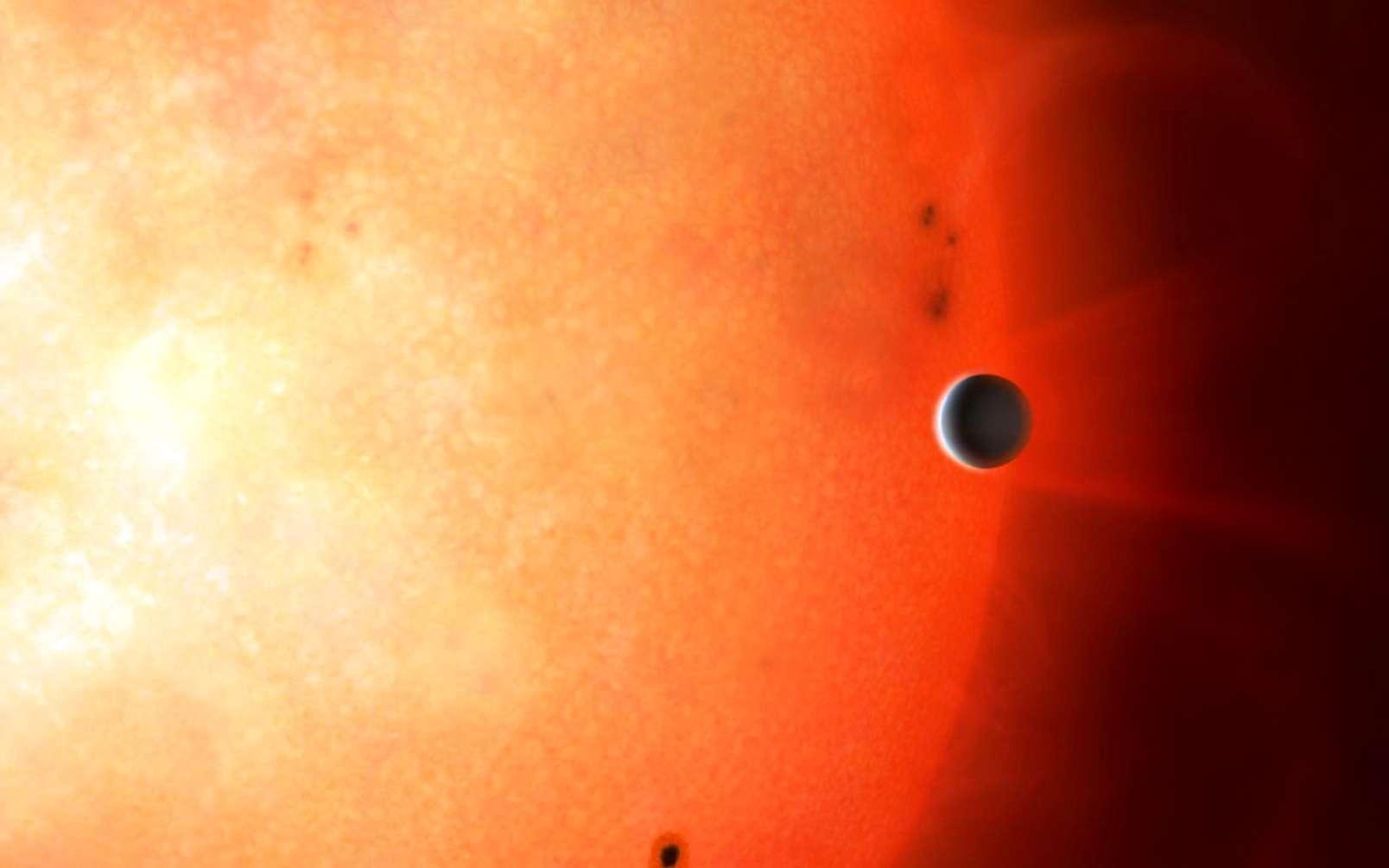 Impression d'artiste montrant une planète de la taille de Neptune dans le désert neptunien. Il est extrêmement rare de trouver un objet de cette taille et de cette densité si près de son étoile. © University of Warwick, Mark Garlick